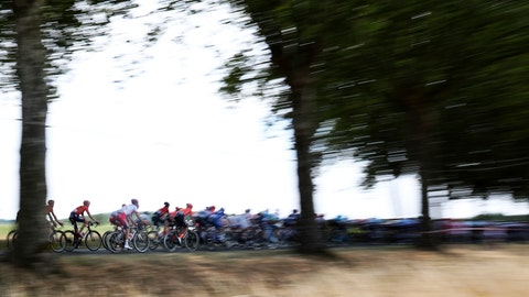<p>               The pack ride during the eleventh stage of the Tour de France cycling race over 167 kilometers (103,77 miles) with start in Albi and finish in Toulouse, France, Wednesday, July 17, 2019. (AP Photo/Thibault Camus)             </p>