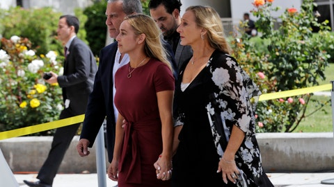 <p>               Carli Skaggs, center in burgundy dress, walks into St. Monica Catholic Church for a memorial for her husband, Los Angeles Angels pitcher Tyler Skaggs, Monday, July 22, 2019, in Los Angeles. (AP Photo/Marcio Jose Sanchez)             </p>