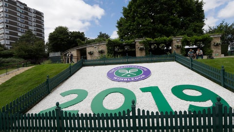 <p>               A sign for 2019 is shown on 'Murray Mound' during preparations for the Wimbledon Tennis Championships in London, Sunday, June 30, 2019. (AP Photo/Kirsty Wigglesworth)             </p>