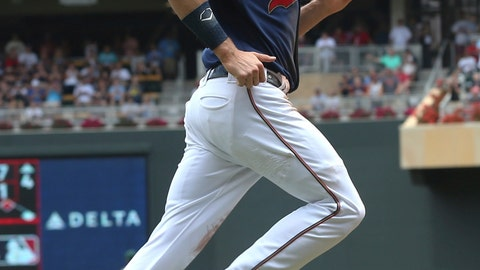 <p>               Minnesota Twins' Max Kepler jogs home to score on a Jorge Polanco double off Oakland Athletics pitcher Daniel Mengden in the first inning of a baseball game Sunday, July 21, 2019, in Minneapolis. (AP Photo/Jim Mone)             </p>