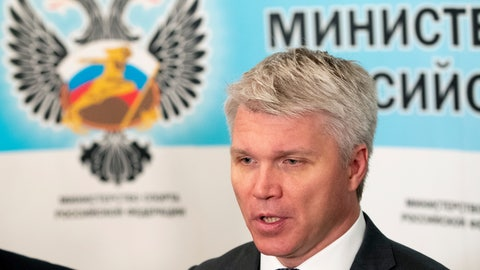 <p>               Russian Sports Minister Pavel Kolobkov speaks to the media in Moscow, Russia, Wednesday, July 24, 2019. With a year to go until the Olympics open in Tokyo, Russia believes it can emerge from the shadow of doping scandals and surge up the medal table. (AP Photo/Pavel Golovkin)             </p>