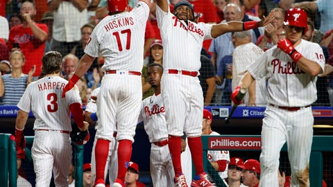 <p>               Philadelphia Phillies' Rhys Hoskins, left, celebrates his two-run home run with Maikel Franco, right, during the fifth inning of a baseball game against the San Francisco Giants, Tuesday, July 30, 2019, in Philadelphia. (AP Photo/Chris Szagola)             </p>