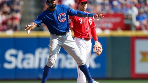 <p>               Chicago Cubs right fielder Jason Heyward, left, reaches second on an infield single by Addison Russell as Cincinnati Reds second baseman Scooter Gennett (3) defends during the fifth inning of a baseball game, Saturday, June 29, 2019, in Cincinnati. (AP Photo/Gary Landers)             </p>