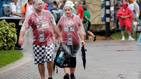 <p>               Fans walk through the Fan Zone during a weather delay of activities before the NASCAR Cup Series auto race at Daytona International Speedway, Saturday, July 6, 2019, in Daytona Beach, Fla. (AP Photo/John Raoux)             </p>