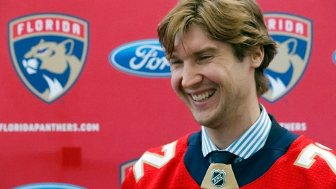 <p>               Florida Panthers new goaltender Sergei Bobrovsky laughs as he speaks during an NHL hockey news conference, Tuesday, July 2, 2019, in Sunrise, Fla. The Panthers introduced Bobrovsky, Anton Stralman, Brett Connolly and Noel Acciari. The Panthers, New York Rangers and Nashville Predators were winners on Day 1 of NHL free agency. (AP Photo/Wilfredo Lee)             </p>