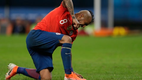 <p>               Chile's Arturo Vidal reacts after missing a chance to score against Peru during a Copa America semifinal soccer match at the Arena do Gremio in Porto Alegre, Brazil, Wednesday, July 3, 2019. Peru defeated Chile 3-0 and advances to the final with Brazil. (AP Photo/Silvia Izquierdo)             </p>