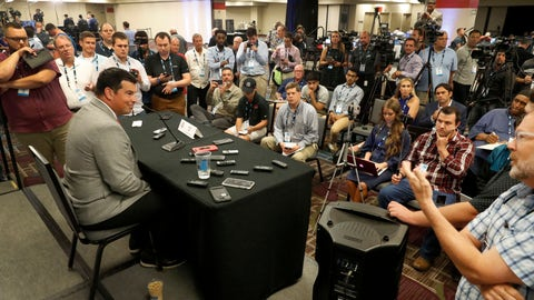 <p>               Ohio State head coach Ryan Day, left, talks to reporters during the Big Ten Conference NCAA college football media days Thursday, July 18, 2019, in Chicago. (AP Photo/Charles Rex Arbogast)             </p>