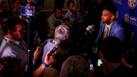 <p>               Alabama quarterback Tua Tagovailoa speaks to reporters during the NCAA college football Southeastern Conference Media Days, Wednesday, July 17, 2019, in Hoover, Ala. (AP Photo/Butch Dill)             </p>