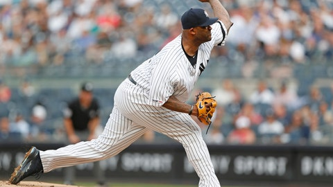 <p>               New York Yankees starting pitcher CC Sabathia delivers during the first inning of a baseball game against the Toronto Blue Jays, Monday, June 24, 2019, in New York. (AP Photo/Kathy Willens)             </p>