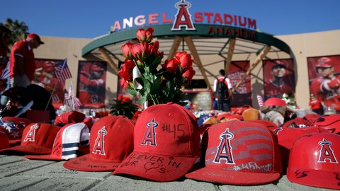 <p>               A makeshift shrine in honor of Los Angeles Angels pitcher Tyler Skaggs stands outside Angel Stadium before the team's baseball game against the Seattle Mariners on Friday, July 12, 2019, in Anaheim, Calif. (AP Photo/Marcio Jose Sanchez)             </p>