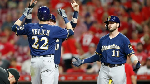 <p>               Milwaukee Brewers' Christian Yelich (22) is congratulated at the plate by Yasmani Grandal, obscured, left, and Mike Moustakas (11) following a two-run home run off Cincinnati Reds relief pitcher Robert Stephenson during the ninth inning of a baseball game, Monday, July 1, 2019, in Cincinnati. (AP Photo/Gary Landers)             </p>