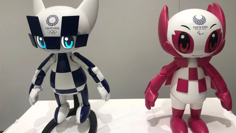 "<p>               In this Thursday, July 18, 2019, photo, robots of mascots of Olympics ""Miraitowa,"" left, and Paralympics ""Someity"" are shown to the media at Toyota Motor Corp. headquarters in Tokyo. The mascot robots' eyes change to the images of stars and hearts. The Japanese automaker Toyota, a major Olympic sponsor, is readying various robots for next year's Tokyo Olympics. (AP Photo/Yuri Kageyama)             </p>"