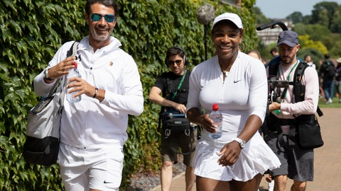 <p>               Serena Williams of USA and her coach Patrick Mouratoglou walk on after a training session at the All England Lawn Tennis Championships in Wimbledon, London, on Friday, June 28, 2019. The Wimbledon Tennis Championships 2019 will be held in London from  July 1 to  July 14. (Peter Klaunzer/Keystone via AP)             </p>
