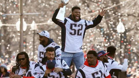 "<p>               FILE - In this Feb. 5, 2019, file photo, New England Patriots' Elandon Roberts (52) rides a duck boat during the Patriots parade through downtown Boston to celebrate their win over the Los Angeles Rams in NFL Super Bowl 53. Roberts is condemning his treatment by a Texas sheriff's deputy who referred to him as a ""big black man"" during a March traffic stop. Roberts in a statement to USA Today says ""these types of things are happening all too often to African-Americans."" The linebacker was returning to his home southwest of Houston and was followed by the Fort Bend County deputy before the deputy initiated the stop as Roberts drove into his driveway. (AP Photo/Michael Dwyer, File)             </p>"