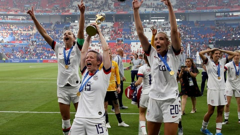 <p>               United States' Megan Rapinoe , center left, celebrates with teammates their victory in the Women's World Cup final soccer match between US and The Netherlands at the Stade de Lyon in Decines, outside Lyon, France, Sunday, July 7, 2019. US won 2:0. (AP Photo/David Vincent)             </p>