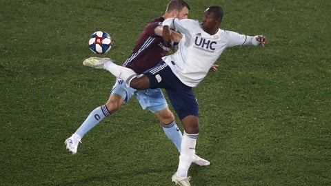 <p>               New England Revolution's Juan Caicedo, front, kicks the ball as Colorado Rapids' Tommy Smith defends during the first half of an MLS soccer match Thursday, July 4, 2019, in Commerce City, Colo. (AP Photo/David Zalubowski)             </p>