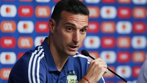 <p>               Argentina's coach Lionel Scaloni looks on during press conference in Belo Horizonte, Brazil, Monday, July 1, 2019. Argentina will face Brazil for a Copa America semifinal match on July, 2.(AP Photo/Natacha Pisarenko)             </p>