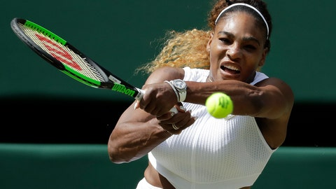 <p>               United States' Serena Williams returns to Czech Republic's Barbora Strycova in a Women's semifinal singles match on day ten of the Wimbledon Tennis Championships in London, Thursday, July 11, 2019. (AP Photo/Ben Curtis)             </p>