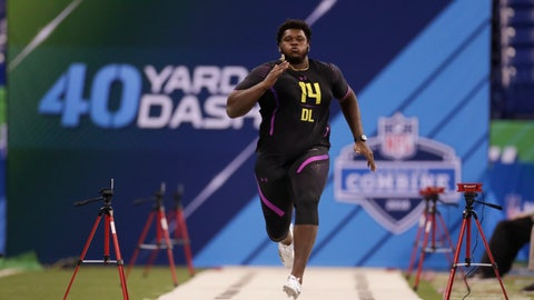 """<p>               FILE - In this March 4, 2018 file photo, Miami defensive lineman Kendrick Norton runs the 40-yard dash at the NFL football scouting combine in Indianapolis.  The Dolphins say Norton suffered injuries in a """"serious"""" car crash. The team said in a statement Thursday, July 4, 2019,  that 22-year-old Norton's injuries aren't considered life-threatening, but offered few other details. The crash happened late Thursday near Miami.(AP Photo/Michael Conroy, File)             </p>"""