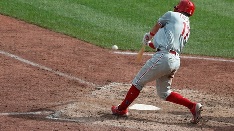 <p>               Philadelphia Phillies' Rhys Hoskins hits a solo home run in the eleventh inning of a baseball game, Sunday, July 21, 2019, in Pittsburgh. The Phillies won 2-1. (AP Photo/Keith Srakocic)             </p>