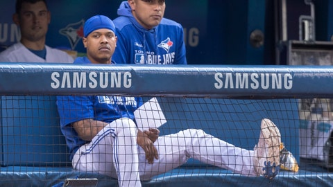 <p>               Toronto Blue Jays pitcher Marcus Stroman sits on the bench during the first inning of a baseball game against the Cleveland Indians, Tuesday, July 23, 2019 in Toronto. (Fred Thornhill/Canadian Press via AP)             </p>
