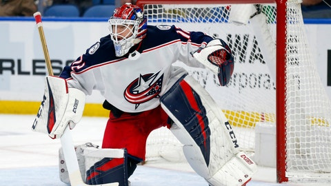 <p>               FILE - In this March 31, 2019, file photo, Columbus Blue Jackets goalie Sergei Bobrovsky looks on during the third period of an NHL hockey game against the Buffalo Sabres, in Buffalo, N.Y. The Florida Panthers have signed goalie Sergei Bobrovsky to a seven-year contract. A person with knowledge of the signing says Bobrovsky's deal is worth $70 million for a salary-cap hit of $10 million per season. The person spoke to The Associated Press on condition of anonymity Monday, July 1, 2019, because the team did not announce the terms of the contract. (AP Photo/Jeffrey T. Barnes, File)             </p>