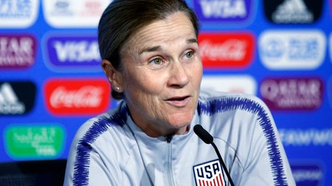 <p>               United States coach Jill Ellis attends a press conference at the Stade de Lyon, outside Lyon, France, Saturday, July 6, 2019. US will face Netherlands in a Women's World Cup final match Sunday in Lyon. (AP Photo/Francois Mori)             </p>