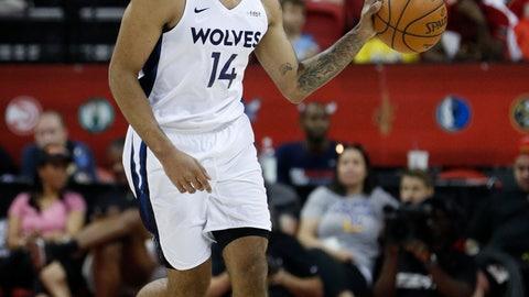 <p>               Minnesota Timberwolves' Jordan Murphy drives upcourt against the Memphis Grizzlies during the first half of an NBA summer league basketball game Monday, July 15, 2019, in Las Vegas. (AP Photo/John Locher)             </p>