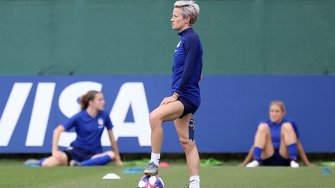 <p>               United States' Megan Rapinoe pauses during a training session of the US Women's Soccer team at a training ground in Lyon, France, Monday, July 1, 2019. The US will face England in a Women's World Cup semifinal match Tuesday in Lyon. (AP Photo/Laurent Cipriani)             </p>