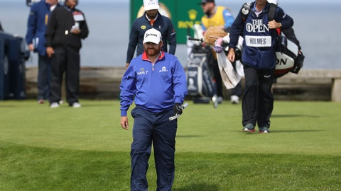 <p>               J.B. Holmes of the United States walks from the 6th tee during the first round of the British Open Golf Championships at Royal Portrush in Northern Ireland, Thursday, July 18, 2019.(AP Photo/Peter Morrison)             </p>