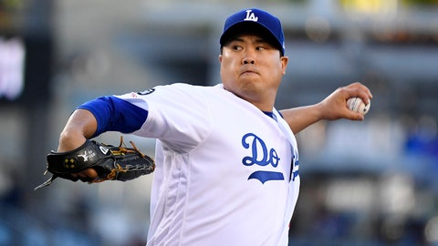<p>               Los Angeles Dodgers starting pitcher Hyun-Jin Ryu, of South Korea, throws during the first inning of the team's baseball game against the Miami Marlins on Friday, July 19, 2019, in Los Angeles. (AP Photo/Mark J. Terrill)             </p>