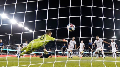 <p>               Real Salt Lake goalkeeper Nick Rimando (18) can't stop a shot for goal by San Jose Earthquakes forward Danny Hoesen during the second half of an MLS soccer match Saturday, July 6, 2019, in San Jose, Calif. San Jose won 1-0. (AP Photo/Tony Avelar)             </p>