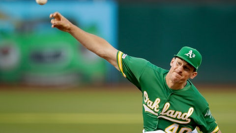 <p>               Oakland Athletics pitcher Chris Bassitt works against the Milwaukee Brewers during the first inning of a baseball game Tuesday, July 30, 2019, in Oakland, Calif. (AP Photo/Ben Margot)             </p>