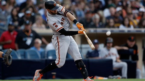 <p>               San Francisco Giants' Evan Longoria hits a two-run home run during the third inning of a baseball game against the San Diego Padres Wednesday, July 3, 2019, in San Diego. (AP Photo/Gregory Bull)             </p>