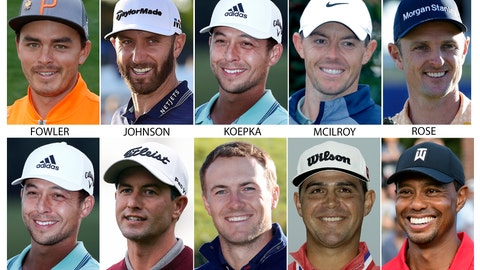 <p>               FILE - These are 2018 and 2019 file photos showing some of the golfers expected to compete in the British Open golf tournament. Shown are: Rickie Fowler, Dustin Johnson, Brooks Koepka, Rory McIlroy, Justin Rose, Xander Schauffele, Adam Scott, Jordan Spieth, Gary Woodland and Tiger Woods. (AP Photo/File)             </p>