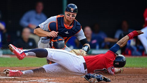 <p>               Cleveland Indians' Francisco Lindor is caught trying to steal home, tagged out by Detroit Tigers' John Hicks during the third inning of a baseball game Wednesday, July 17, 2019, in Cleveland. (AP Photo/David Dermer)             </p>