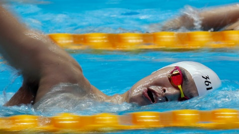 <p>               China's Sun Yang swims during a training session at the World Swimming Championships in Gwangju, South Korea, Saturday, July 20, 2019. (AP Photo/Lee Jin-man)             </p>