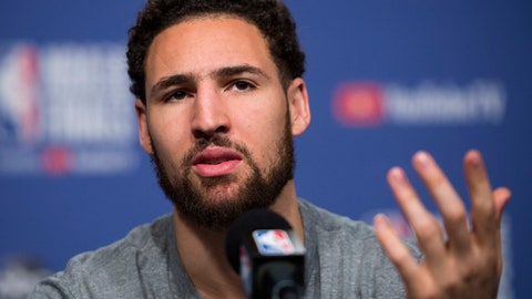 <p>               FILE - In this May 29, 2019 file photo Golden State Warriors basketball guard Klay Thompson speaks to the media before practice for the NBA Finals against the Toronto Raptors in Toronto. Thompson announced Monday, July 1, 2019 his decision to stay with the Golden State Warriors for $190 million over the next five years, meaning the five-time reigning Western Conference champions have their 'Splash Brothers' backcourt of Thompson and Stephen Curry locked up long-term. (Nathan Denette/The Canadian Press via AP, file)             </p>