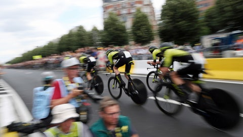 <p>               Mitchelton Scott team strains during the second stage of the Tour de France cycling race, a team time trial over 27.6 kilometers (17 miles) with start and finish in Brussels, Belgium, Sunday, July 7, 2019. (AP Photo/Thibault Camus)             </p>