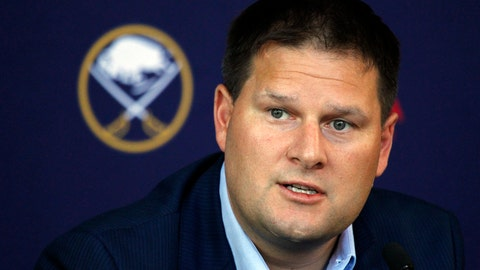 <p>               FILE - In this June 25, 2018, file photo, Buffalo Sabres general manager Jason Botterill addresses the media during a NHL news conference in Buffalo N.Y. Realizing how difficult it is to lure free agents to Buffalo, Sabres general manager Jason Botterill has relied mostly on trades to stock his roster with established talent. (AP Photo/Jeffrey T. Barnes, File)             </p>