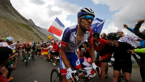 <p>               France's Thibaut Pinot climbs the Galibier pass during the eighteenth stage of the Tour de France cycling race over 208 kilometers (130 miles) with start in Embrun and finish in Valloire, France, Thursday, July 25, 2019. (AP Photo/ Christophe Ena)             </p>