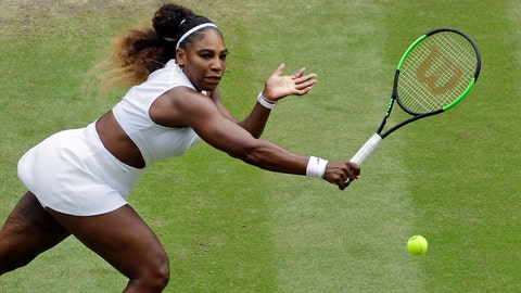 <p>               United States' Serena Williams returns to United States' Alison Riske in a Women's quarterfinal singles match on day eight of the Wimbledon Tennis Championships in London, Tuesday, July 9, 2019. (AP Photo/Ben Curtis)             </p>
