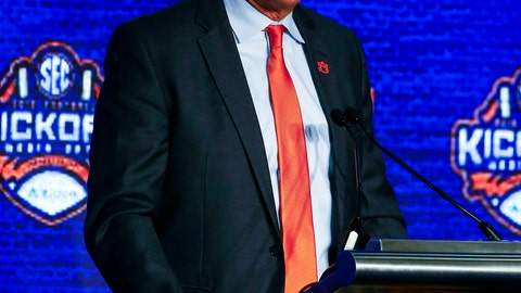 <p>               Auburn head coach Gus Malzahn speaks to reporters during the NCAA college football Southeastern Conference Media Days, Thursday, July 18, 2019, in Hoover, Ala. (AP Photo/Butch Dill)             </p>