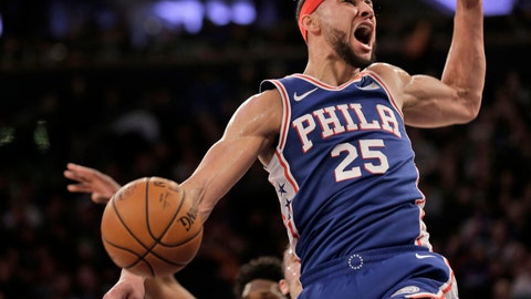 <p>               FILE - In this Jan. 13, 2019, file photo, Philadelphia 76ers' Ben Simmons reacts after dunking during the first half of an NBA basketball game against the New York Knicks in New York. A person familiar with the situation says the Philadelphia 76ers and star guard Ben Simmons have agreed to a $170 million, five-year contract extension. The max deal is the latest big commitment by the team. The person spoke to The Associated Press on condition of anonymity Monday, July 15, 2019, because the contract is not official. (AP Photo/Seth Wenig, File)             </p>