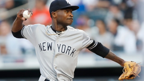 <p>               New York Yankees starting pitcher Domingo German winds up during the first inning of the team's baseball game against the New York Mets, Wednesday, July 3, 2019, in New York. (AP Photo/Kathy Willens)             </p>