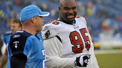 <p>               FILE - In this Sunday, Nov. 27, 2011 file photo, Tampa Bay Buccaneers defensive tackle Albert Haynesworth (95) talks with former teammate Tennessee Titans kicker Rob Bironas (2) after an NFL football game in Nashville, Tenn. Former Tennessee Titans All-Pro defenseman Albert Haynesworth says on social media that he needs a kidney transplant. He shared a photo of himself in a hospital bed and wrote that his kidney failed him on Sunday, July 7, 2019 and he's looking for a donor.(AP Photo/Joe Howell, File)             </p>
