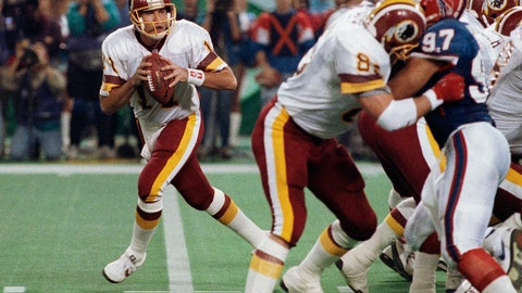 <p>               FILE - In this Jan. 26, 1992, file photo, Washington Redskins quarterback Mark Rypien, left, drops to pass during NFL football's Super Bowl XXVI in Minneapolis. Rypien has been arrested in Washington state on suspicion of domestic violence. The Spokesman-Review cites Spokane police saying Rypien was facing a charge of fourth-degree assault. Rypien, 56, was processed at the Spokane County Jail at around 6:30 p.m. Sunday and was awaiting a court appearance Monday, July 1, 2019. (AP Photo/Jim Mone, File)             </p>