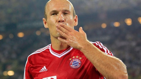 """<p>               FILE - In this July 27, 2013, file photo, Bayern's Arjen Robben of the Netherlands reacts during the Supercup final soccer match between Borussia Dortmund and Bayern Munich in Dortmund, Germany. Former Bayern Munich and Netherlands forward Arjen Robben has announced his retirement from soccer. The 35-year-old Robben, who was thought to be looking for a new club after playing his last game for Bayern in May, says in a statement, """"I have decided to put an end to my career as a professional football player. It is without a doubt the most difficult decision I have had to make in my career.""""(AP Photo/Frank Augstein, File)             </p>"""