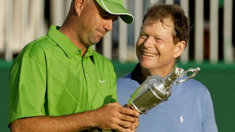 <p>               FILE - In this July 19, 2009, file photo, Stewart Cink of the United States, left, holds the trophy as compatriot Tom Watson looks on after Cink won the British Open Golf championship, in Turnberry, Scotland. Ten years ago, Watson was one putt away from winning the Open at age 59. (AP Photo/Matt Dunham, File)             </p>