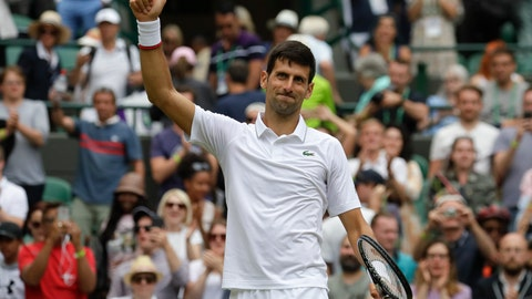 <p>               Serbia's Novak Djokovic celebrates defeating Ugo Humbert of France in a men's singles match during day seven of the Wimbledon Tennis Championships in London, Monday, July 8, 2019. (AP Photo/Kirsty Wigglesworth)             </p>